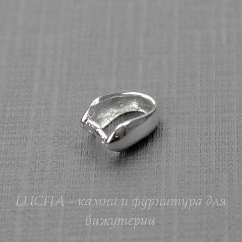 Держатель кулона - простая петелька 8х4 мм (цвет - серебро)