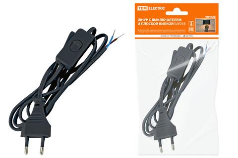 Шнур с выключателем и плоской вилкой ШУ01В ШВВП 2х0,75мм2 2м. черный TDM