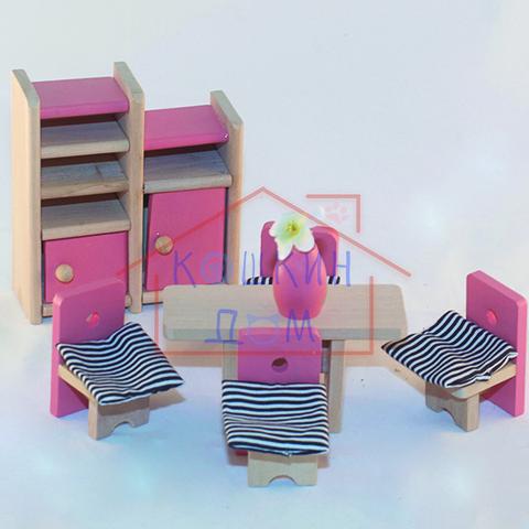 """Деревянная кукольная мебель """"Столовая"""", 8 предметов"""