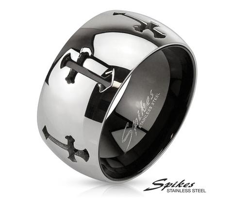 R-M3289 Широкое мужское кольцо из стали с крестами,