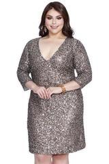 Shail K 7311-2 Платье большого размера, короткое, украшенное пайетками, цвет:черный,синий, оливковый