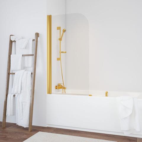 Душевая шторка на ванную Vegas Glass EV профиль золото, стекло прозрачное