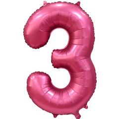 К Цифра, 3, Бордовый, Сатин, 34''/86 см, в упаковке 1 шт.
