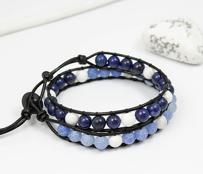 BS756 Мужской браслет из камня синего цвета, ручная работа фото 01