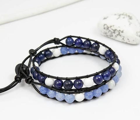 BS756 Мужской браслет из камня синего цвета, ручная работа