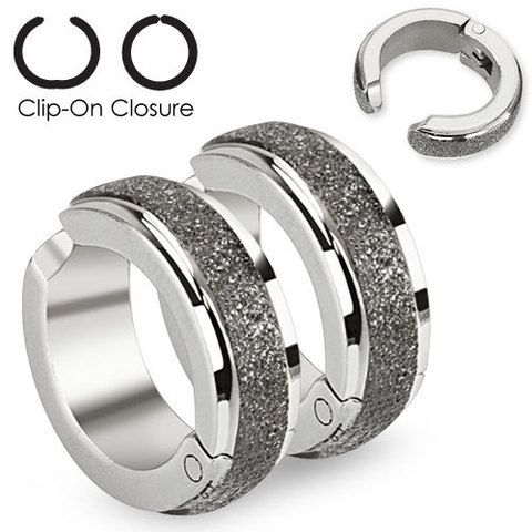 Клипсы кольцо с имитацией алмазного напыления из ювелирной стали SPIKES SFE-13520