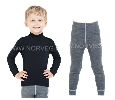 Комплект термобелья из шерсти мериноса Norveg Soft  детский Black-Grey