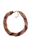 Бисерное ожерелье из 48 нитей золотисто-фиолетовое