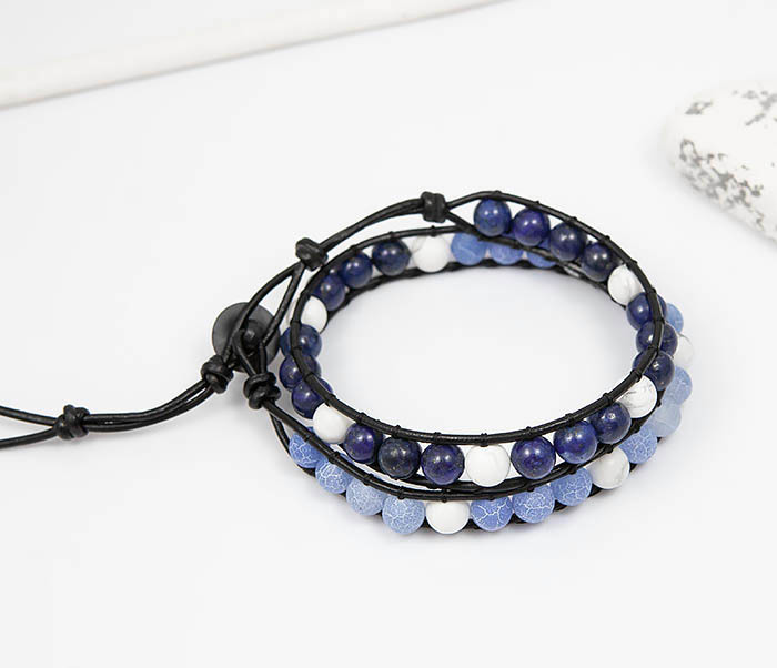 BS756 Мужской браслет из камня синего цвета, ручная работа фото 02