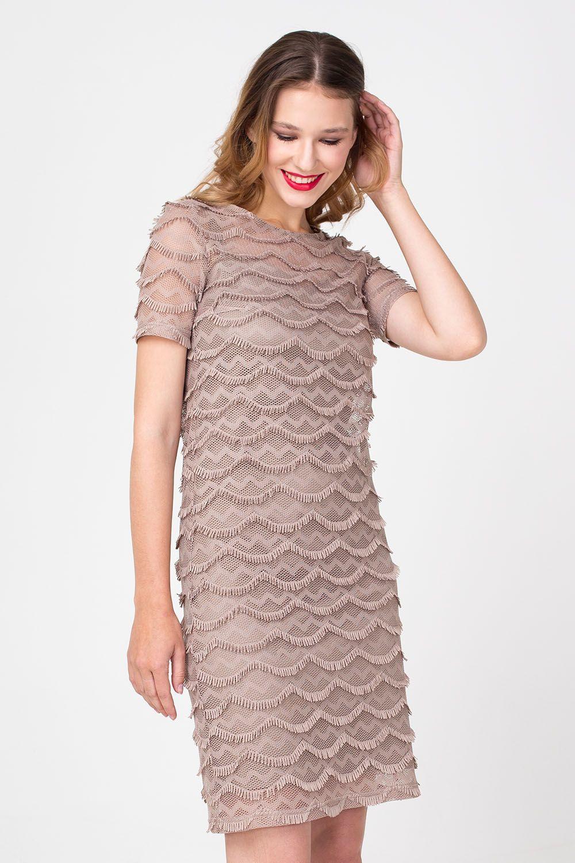 Платье З355-170 - Платье шоколадного цвета состоит из двух слоев: платья-компинации и верхнего прозрачного платья из фактурной ткани длиной до колена. Подойдет для выхода в свет и романтических прогулок.