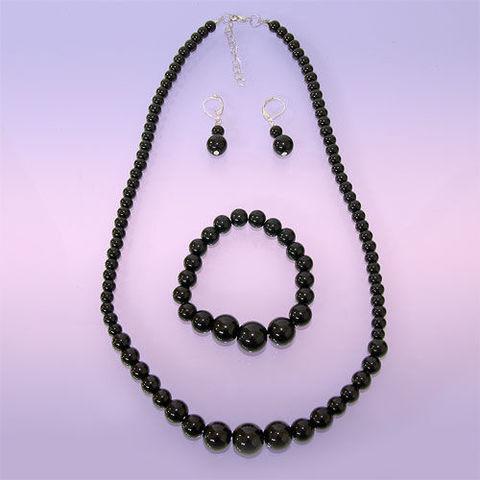 Набор Бусы-браслет-серьги Чёрный агат