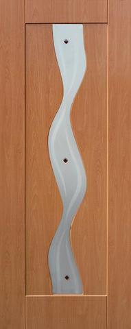 Дверь Сибирь Профиль Водопад, цвет миланский орех, остекленная