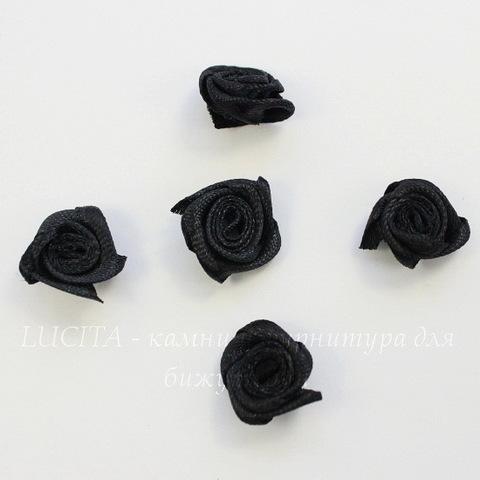 Роза атласная черная 15 мм, 5 штук
