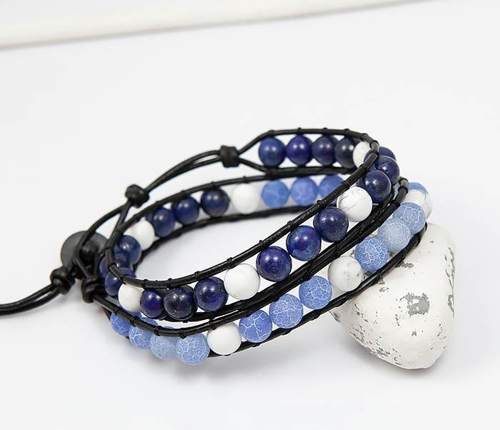 BS756 Мужской браслет из камня синего цвета, ручная работа фото 03