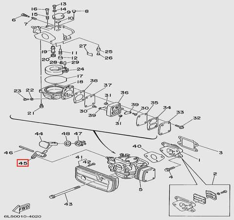 Рычаг дросселя лодочного мотора T3 SEA-PRO (4-45)