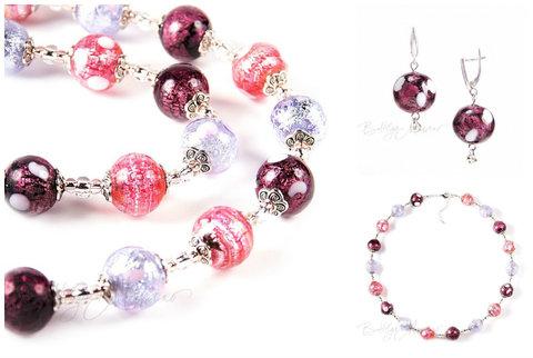 Ожерелье и серьги (комплект украшений Bella розово-фиолетовый)