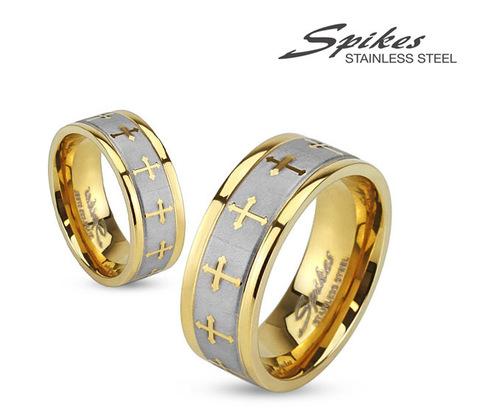 R-S1419-8 Мужское кольцо золотого цвета из стали с крестами,