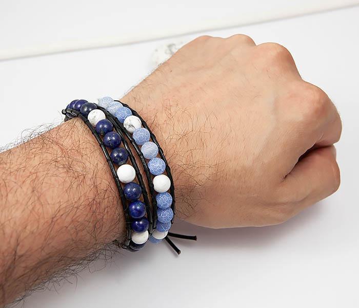 BS756 Мужской браслет из камня синего цвета, ручная работа фото 04