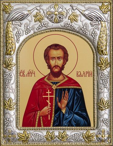 Серебряная икона Валерий Мелитинский  18x14см