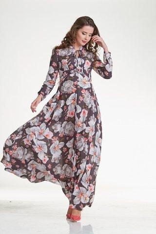 Платье 10285 серые цветы