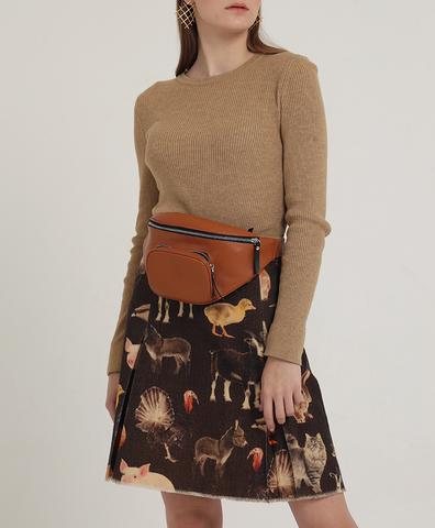 Шерстяная юбка с анималистическим мотивом