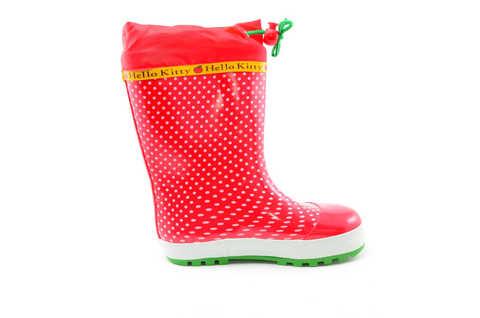 Резиновые сапоги для девочек утепленные Хелло Китти (Hello Kitty), цвет красный. Изображение 2 из 11.