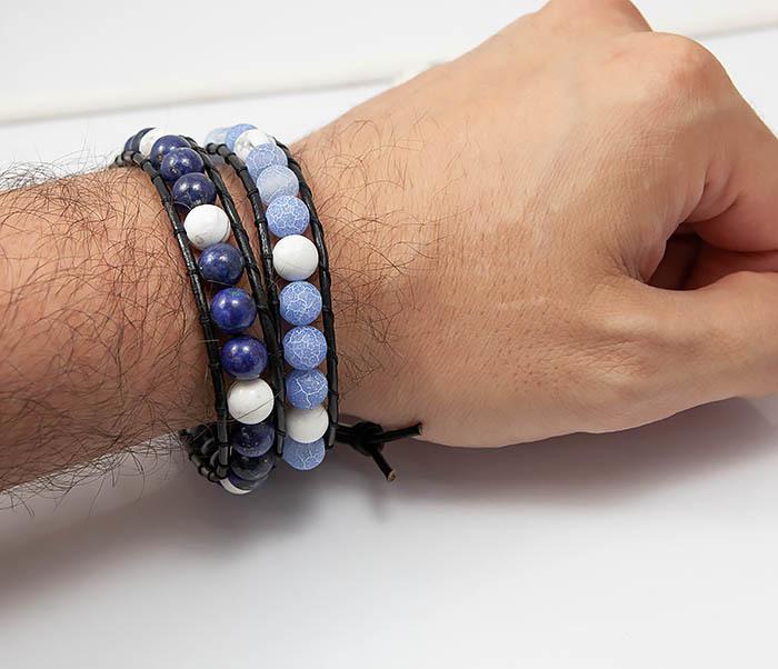 BS756 Мужской браслет из камня синего цвета, ручная работа фото 05