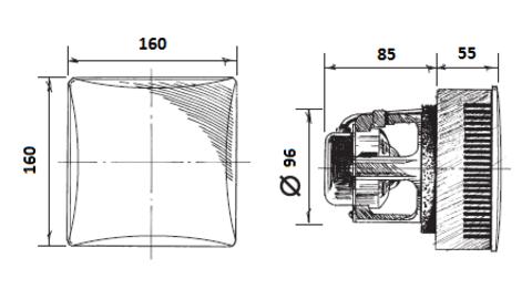 Blauberg Eco 100 Platinum Накладной вентилятор с автоматическими жалюзи