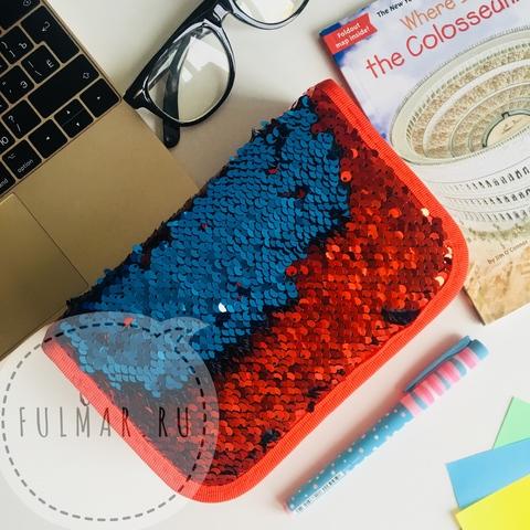 Пенал с пайетками трехсекционный на молнии для девочек меняет цвет Красный-Синий