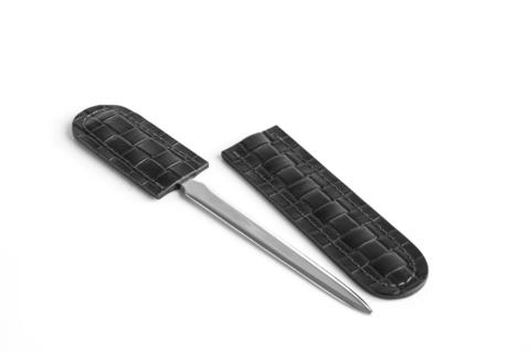 Канцелярский нож с ножнами BUVARDO БИЗНЕС из кожи цвет TRECCIA/ЧЕРНЫЙ
