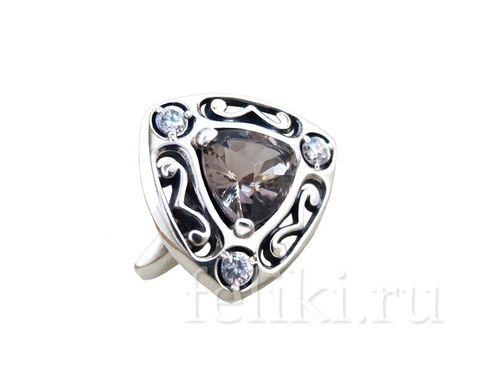 кольцо из серебра с натуральным раухтопазм 8*8 мм