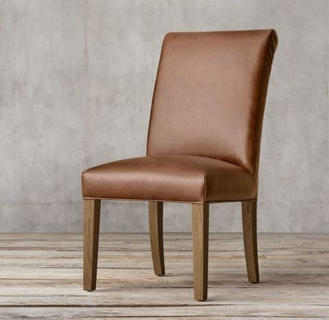 Hudson Roll-Back Leather Side Chair