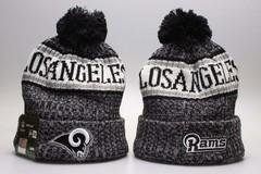 Шерстяная вязаная шапка футбольного клуба Los Angeles Rams (Лос-Анджелес) NFL с помпоном