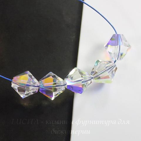 5328 Бусина - биконус Сваровски Crystal AB 6 мм, 5 штук