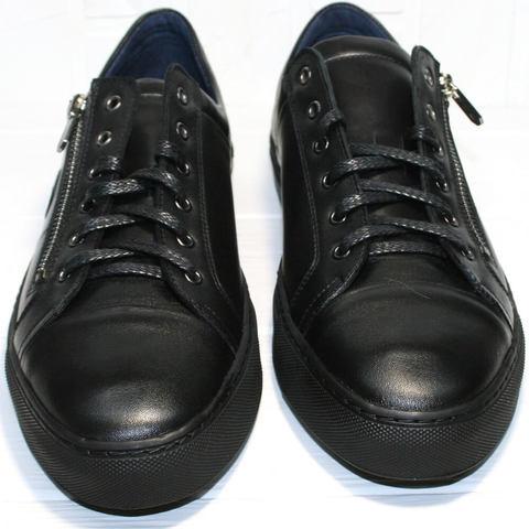 Мужские кеды черные. Демисезонные кеды кожаные Ікос Black.