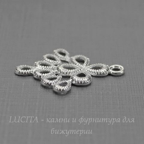 "Коннектор ""Капли"" 26х21 мм (цвет - серебро)"