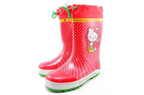 Резиновые сапоги для девочек утепленные Хелло Китти (Hello Kitty), цвет красный. Изображение 5 из 11.