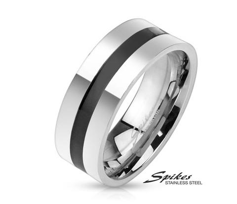 R-M3946-8 Стильное мужское кольцо &#34Spikes&#34 из ювелирной стали с черной полосой