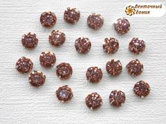 Камни круглые в цапах 8 мм персиковые