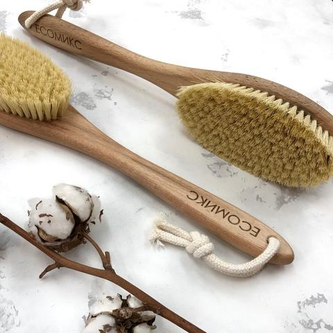 Щетка натуральная массажная с ручкой щетина мексиканского кактуса ( лимфодренажная щетка) ECOмикс