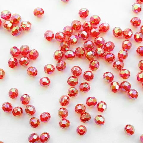 Бусина акриловая шарик с огранкой красный с AB покрытием 6 мм, 10 штук