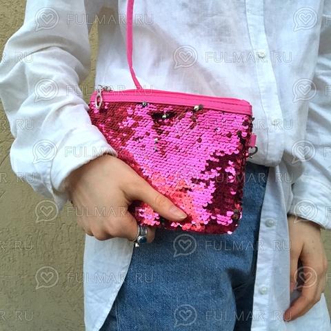 Клатч-сумочка на молнии детская с пайетками меняющая цвет Фуксия-Серебристый