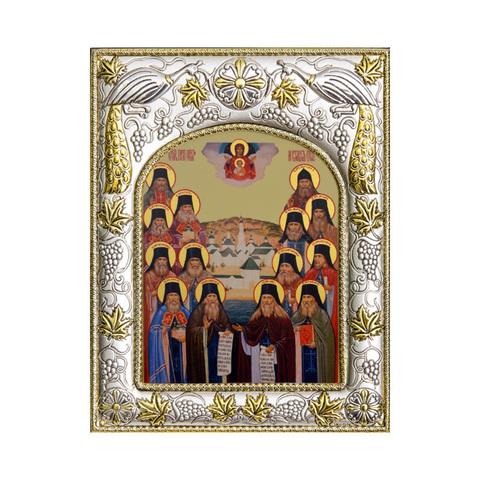 Серебряная икона Оптинские Старцы  18x14см