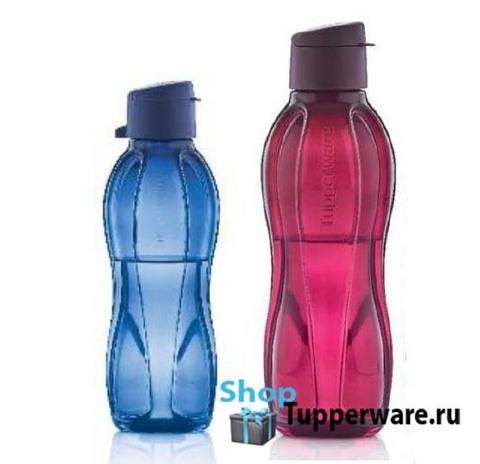 бутылка эко 500мл с клапаном в темно синем цвете и 750мл с клапаном в бордовом цвете