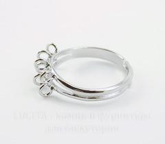 Основа для кольца с петельками (8 петелек) (цвет - античное серебро)