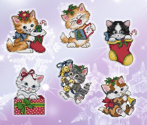 Набор для вышивания Елочные игрушки Рождественские котята. Арт. 4005