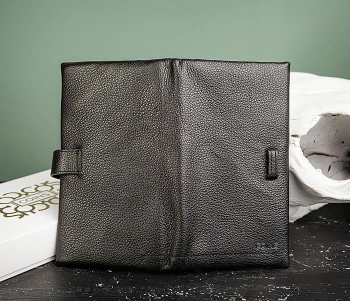 WL326-1 Мужской кожаный купюрник черного цвета, «Hanz» фото 05
