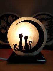 Солевая лампа Влюбленные коты 1,3кг