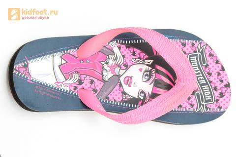 Шлепанцы Монстер Хай (Monster High) пляжные сланцы для девочек, цвет черный розовый. Изображение 10 из 10.