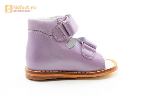 Босоножки на первый шаг Тотто из натуральной кожи на липучках для девочки, цвет сирень. Изображение 4 из 16.